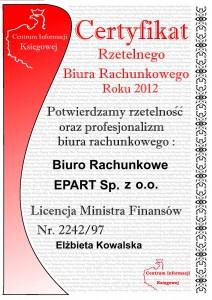 Epart - Certyfikat Rzetelnego Biura Rachunkowego 2012